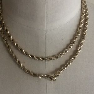 Jewelry - Gold plate rope chain gorgeous! 36""